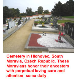 Cemetery in Hlohovec, South Moravia, Czech Republic. These Moravians honor their ancestors with perpetual loving care and attention, some daily.