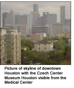 Picture of skyline of downtown Houston with the Czech Center Museum Houston visible from the Medical Center